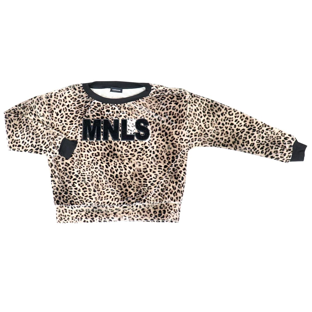 Viscose sweatshirt with all over animal print and lettering Animal print Monnalisa