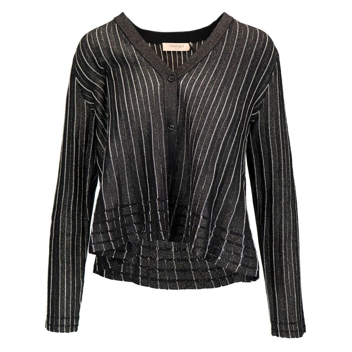 Striped lurex viscose cardigan Black Twin-Set