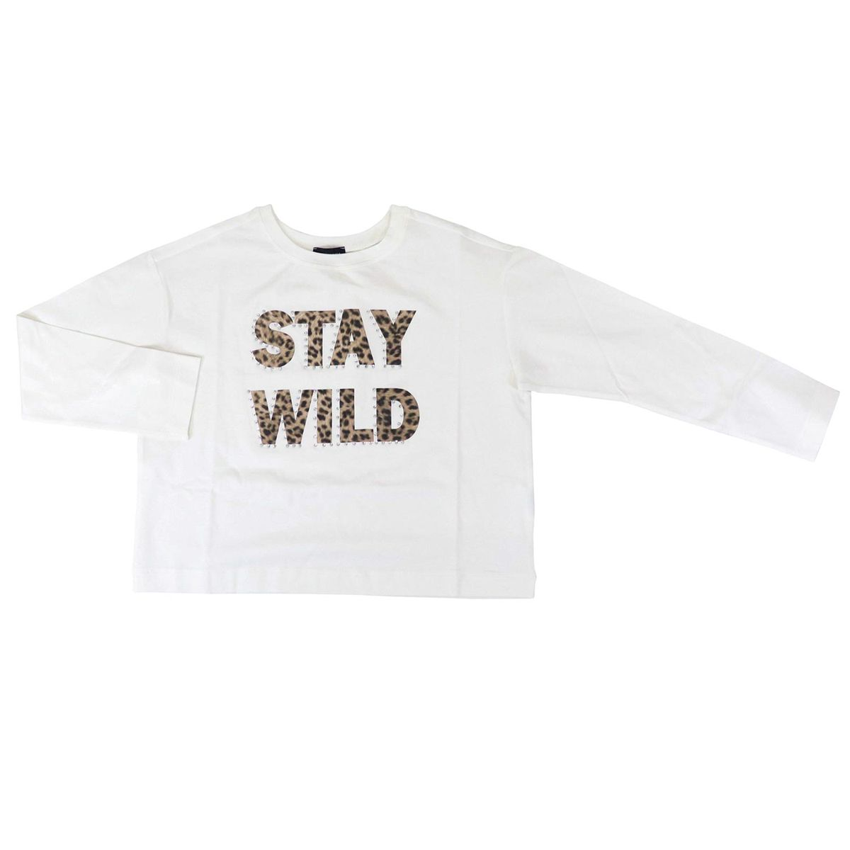Cotton sweater with spotted lettering print Cream Monnalisa