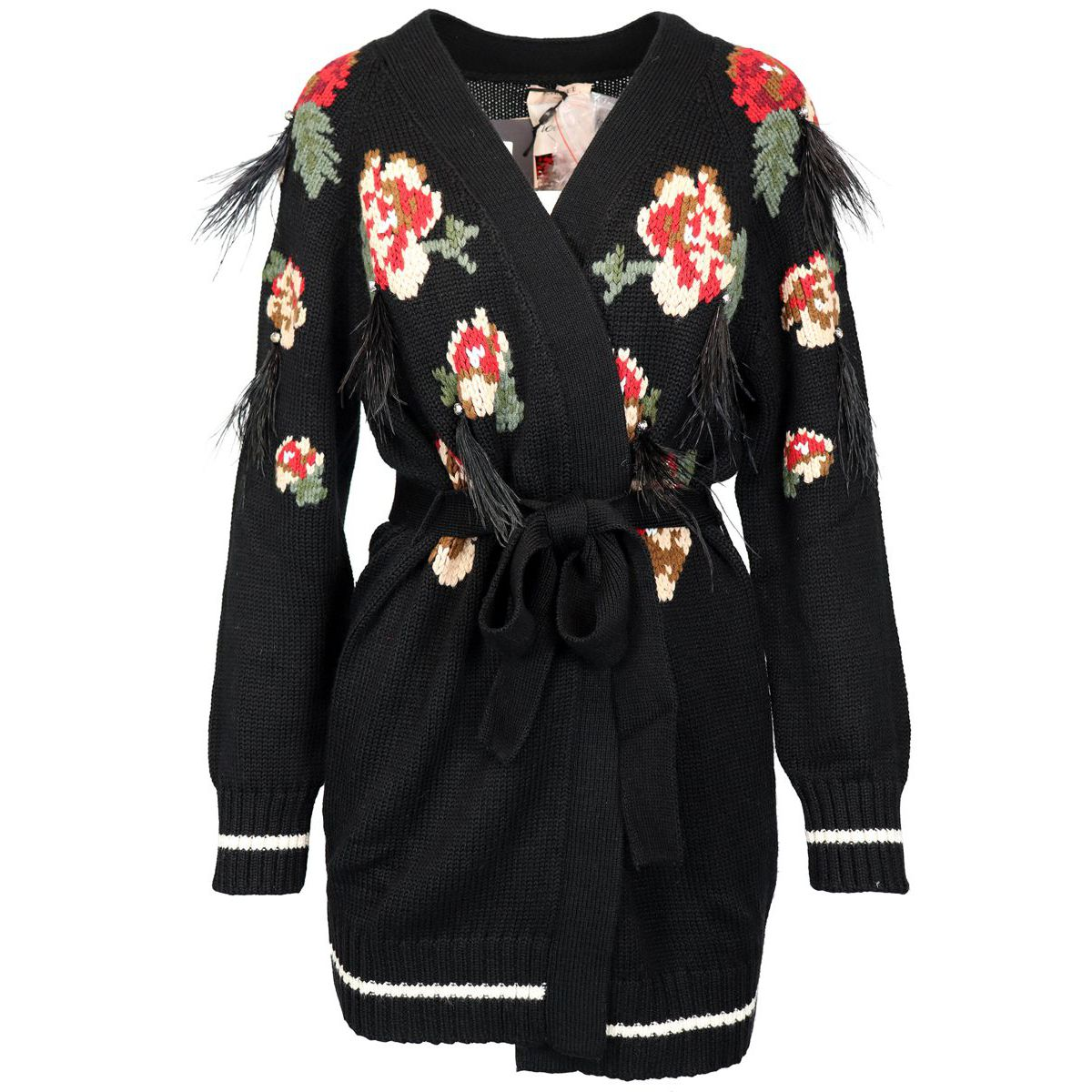 Maxi cardigan with floral embroidery and feathers and crystals inserts Black Twin-Set