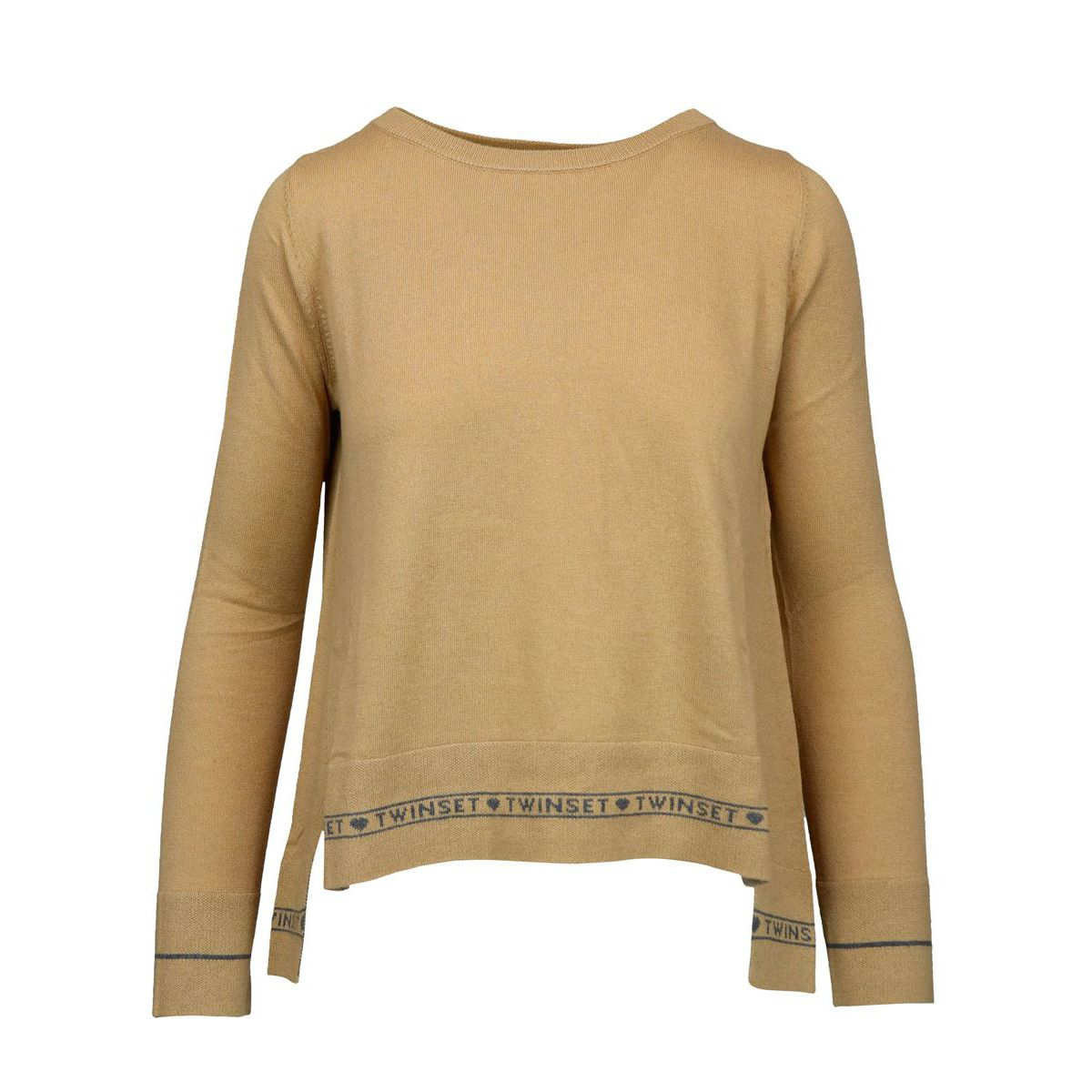 Silk and cashmere blend sweater with jacquard logo Camel Twin-Set