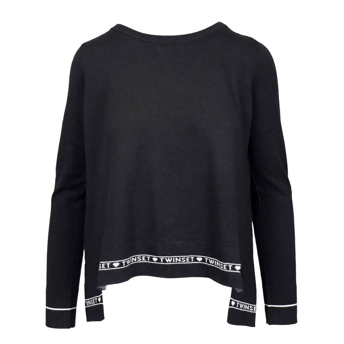 Silk and cashmere blend sweater with jacquard logo Black Twin-Set