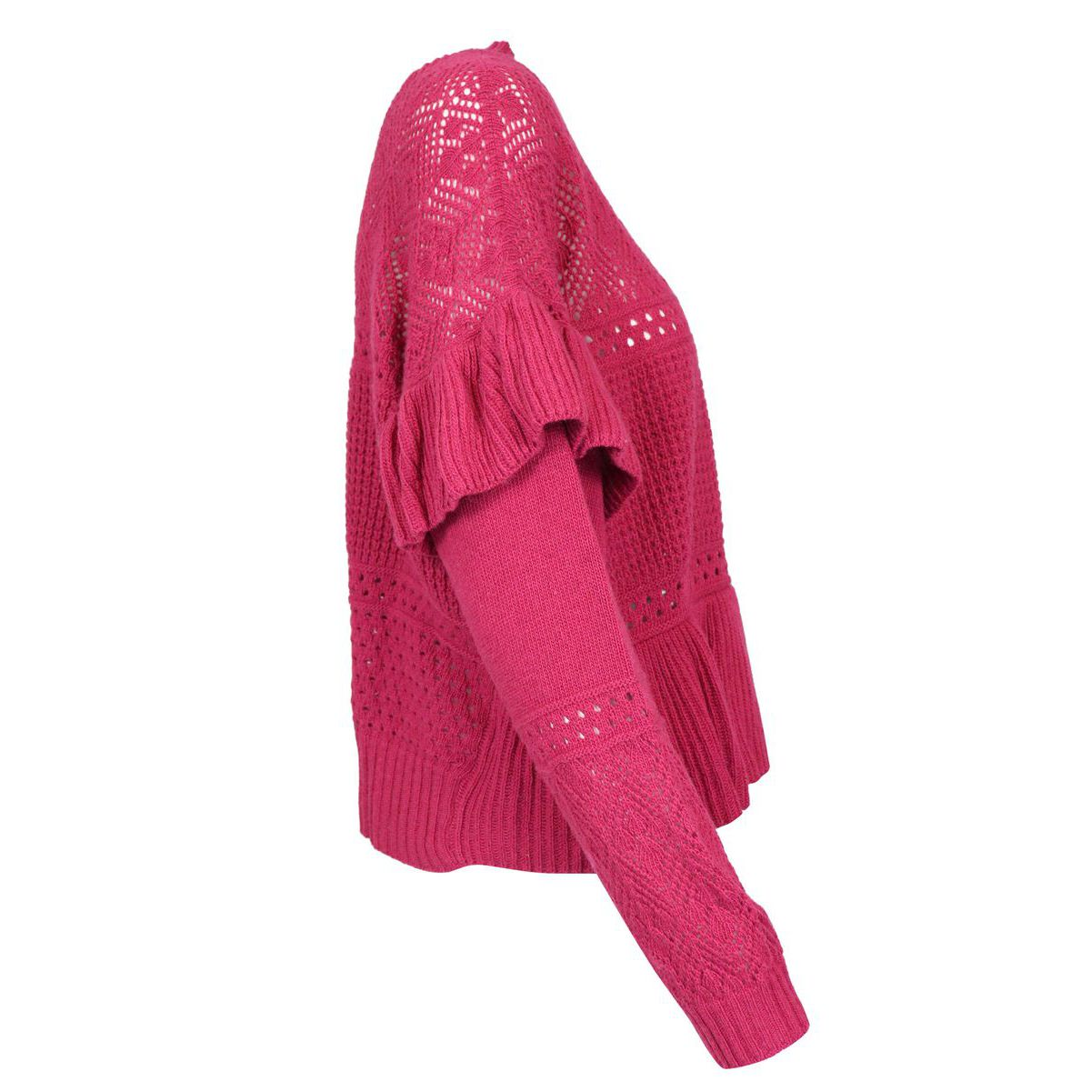 Perforated lace effect wool and cashmere sweater Magenta Twin-Set