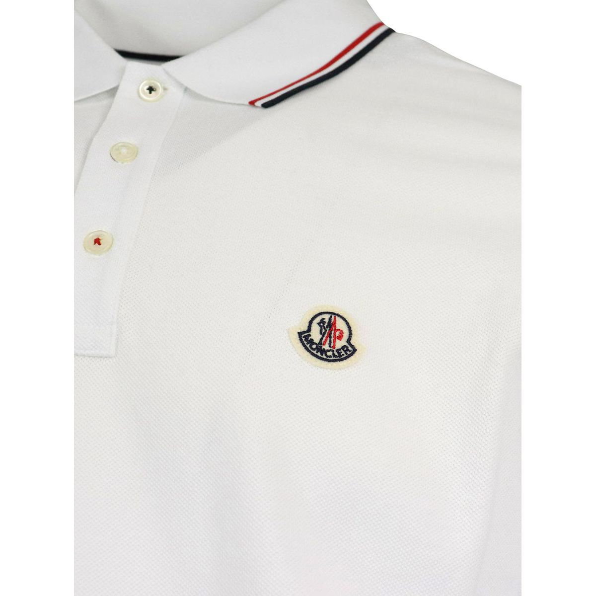 3 button cotton polo shirt with trim and logo White Moncler