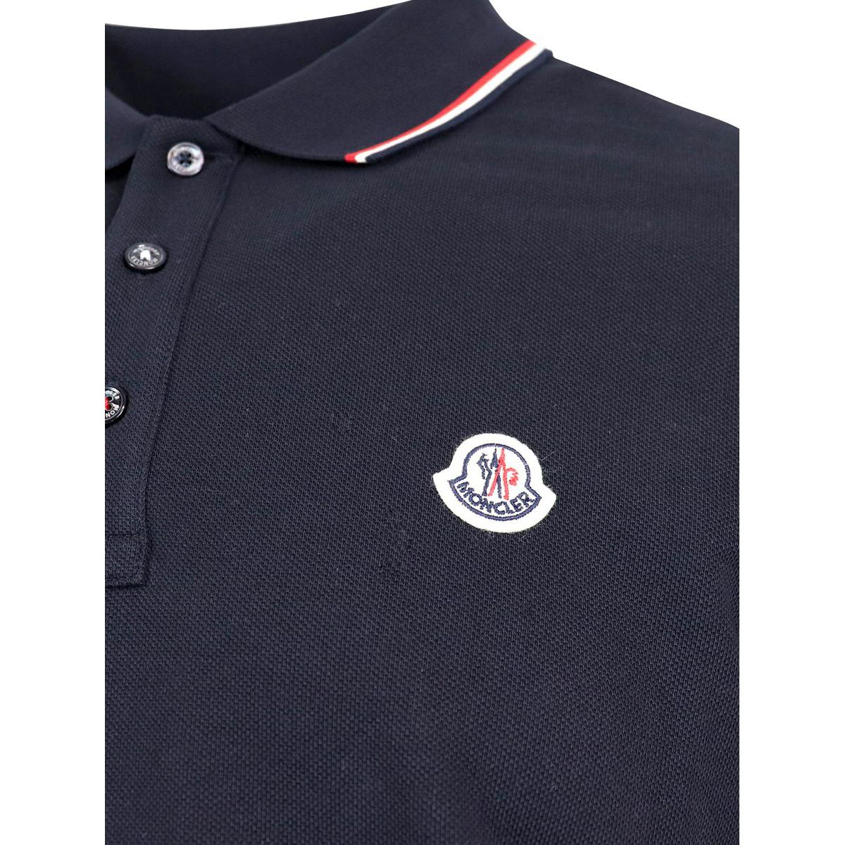 3 button cotton polo shirt with trim and logo Navy Moncler