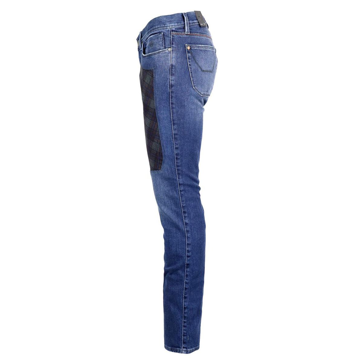 Slim jeans with tartan patch Dark denim Jeckerson