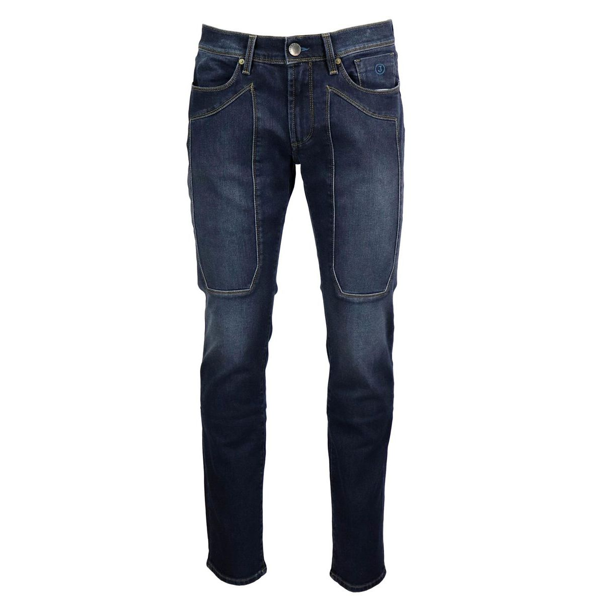Slim jeans with 3 Blue patch and visible stitching Denim Jeckerson