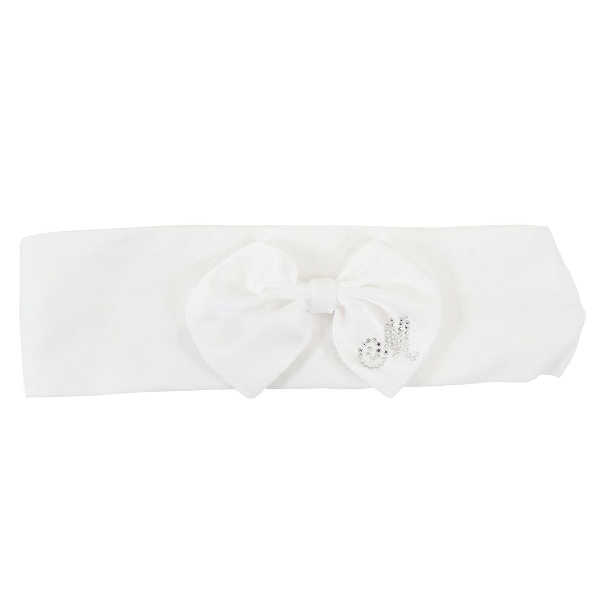 Cotton band with bow and rhinestone logo Cream Monnalisa