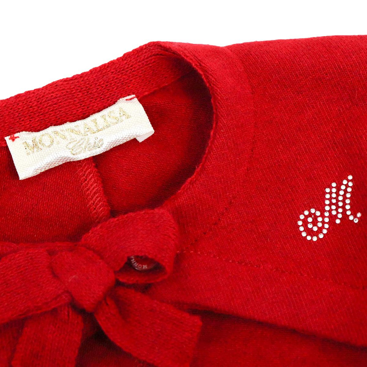 Plain knit cardigan with bow and rhinestone logo Ruby Monnalisa