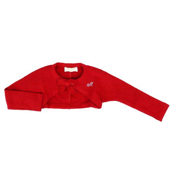 Plain knit cardigan with bow and rhinestone logo Ruby Monnalisa