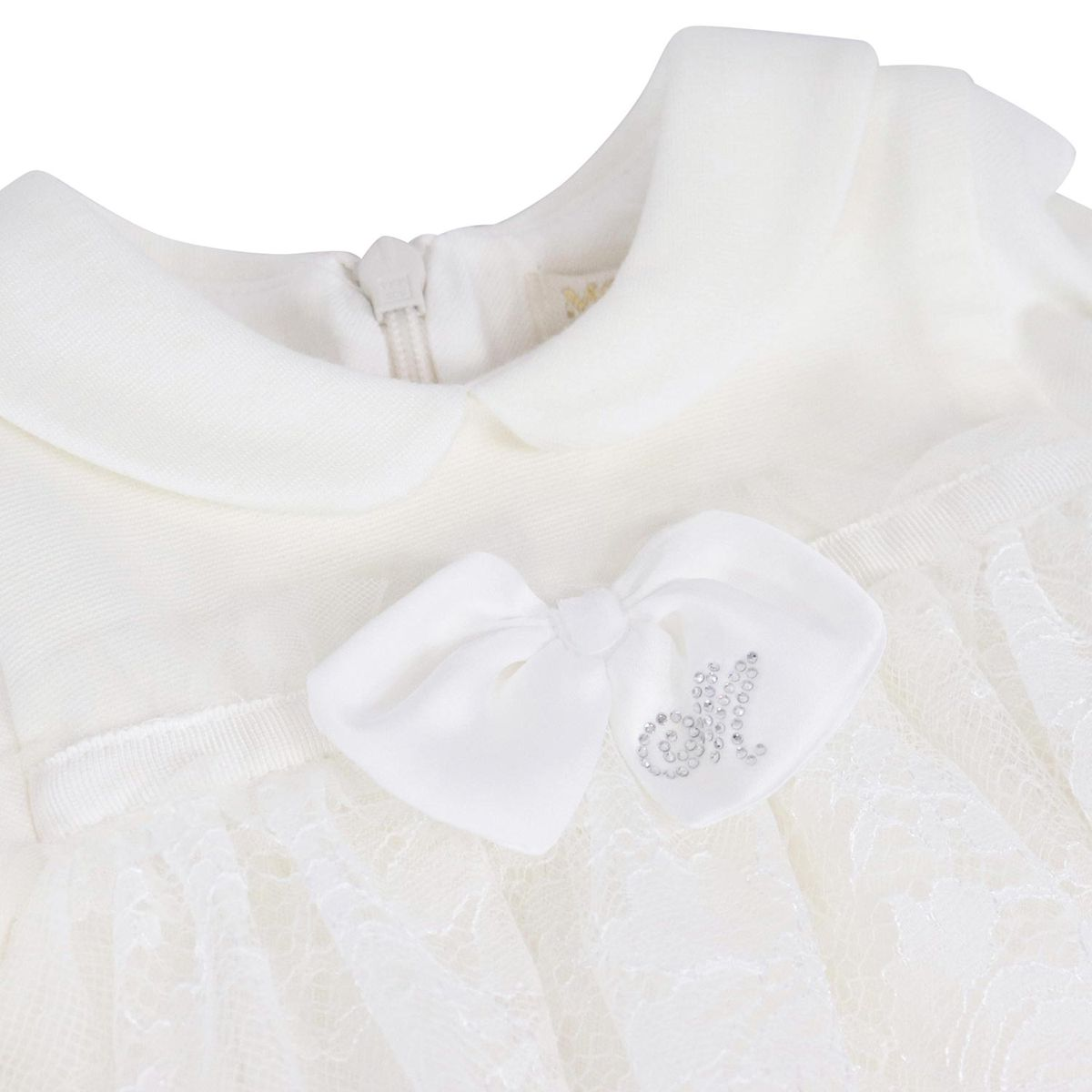 Dress with lace skirt and bow at the waist Cream Monnalisa