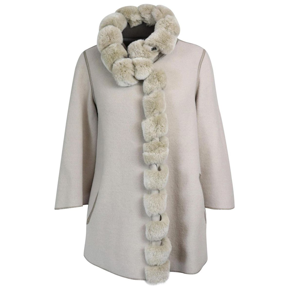 Wool and cashmere coat with reversible orylag inserts Camellia Marester