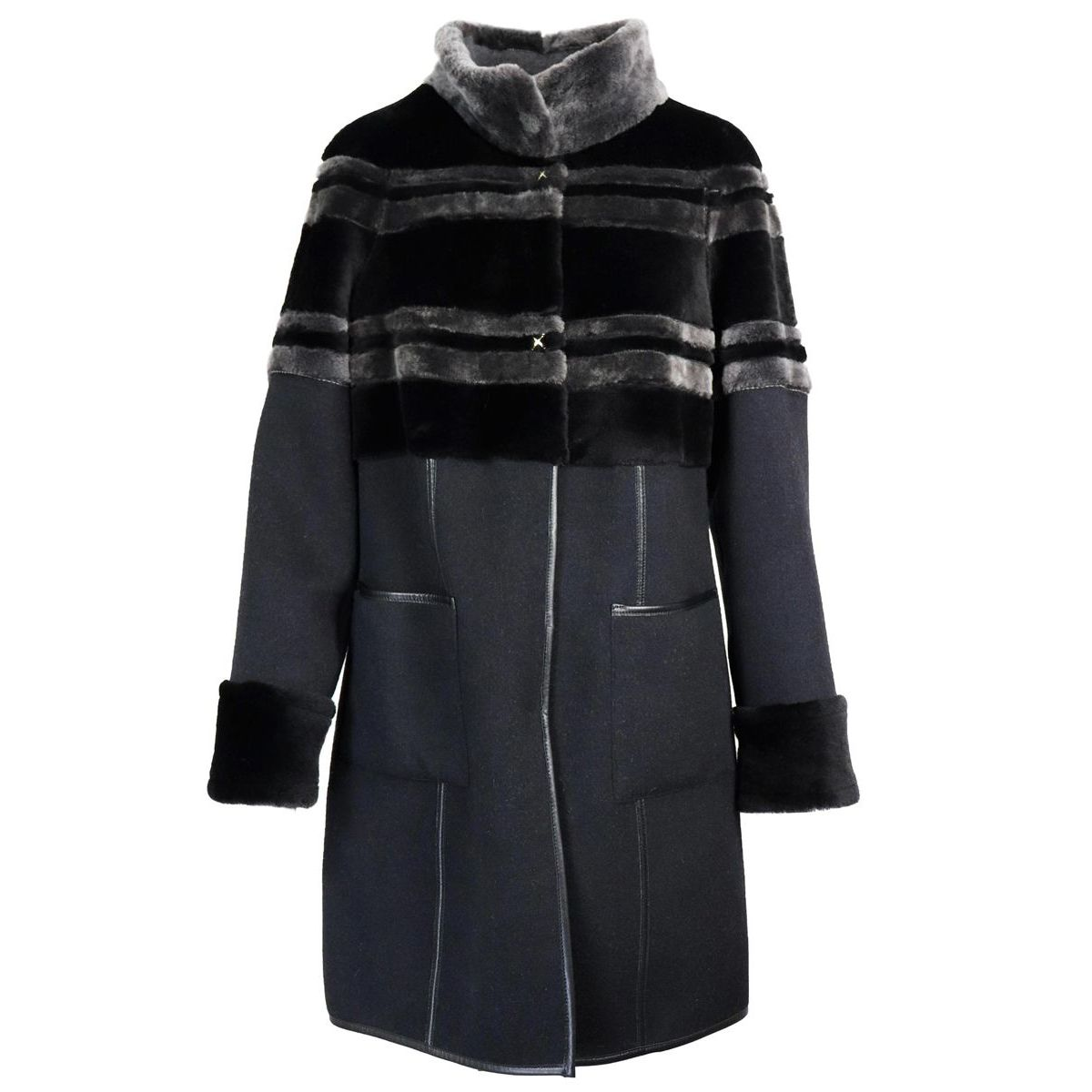 Long coat in cashmere and wool with reversible shearling inserts Black Marester