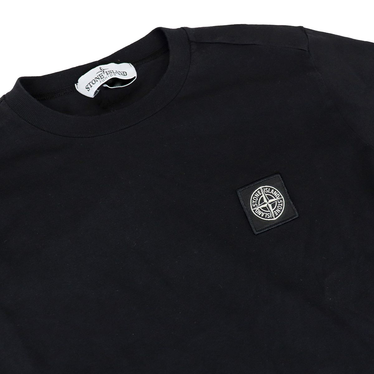Crewneck cotton sweater with logo Black STONE ISLAND JUNIOR
