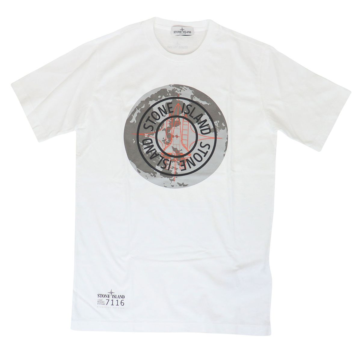 Crewneck cotton T-shirt with logo print White STONE ISLAND JUNIOR