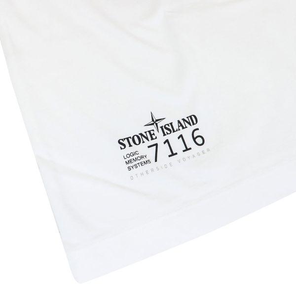 Crewneck cotton T-shirt with logo print White STONE ISLAND JUNIOR