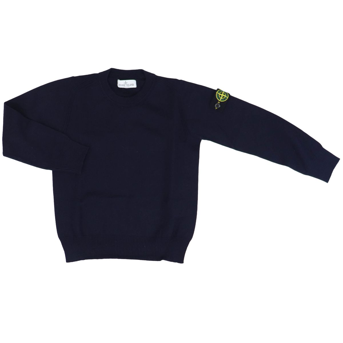 Wool pullover with ribbed profiles Blue STONE ISLAND JUNIOR