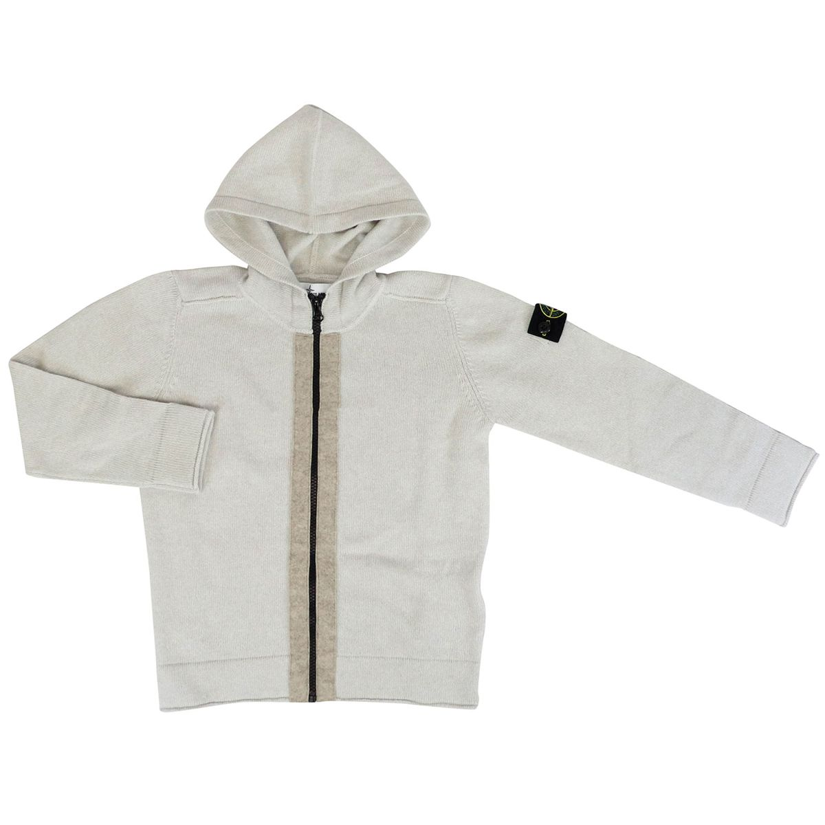 Wool and cashmere blend cardigan with hood and zip Sand Stone Island