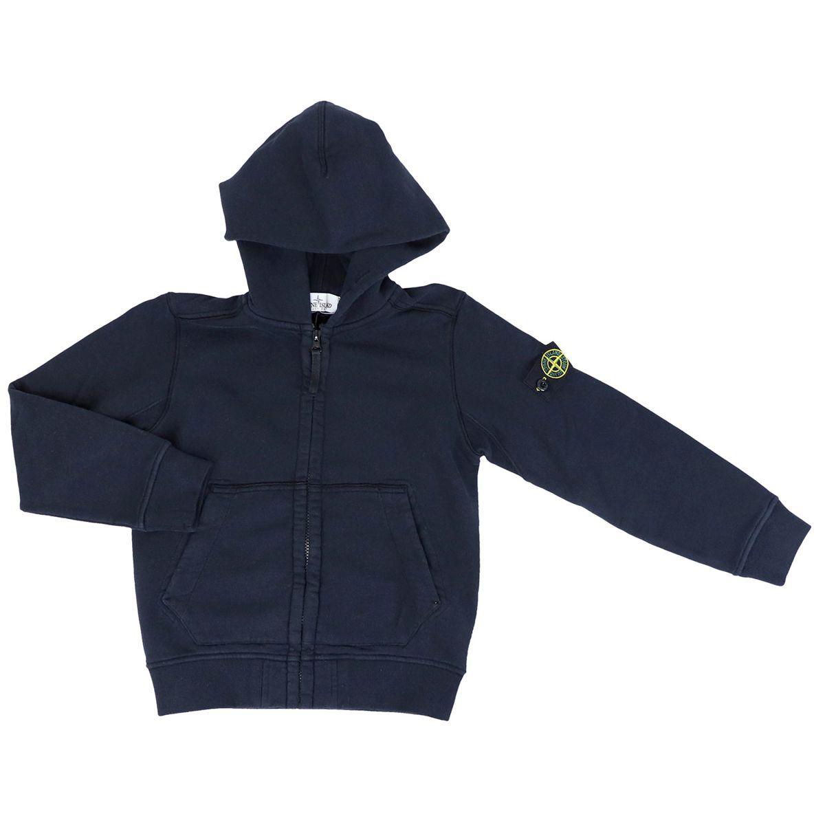 Hooded cotton sweatshirt Blue STONE ISLAND JUNIOR