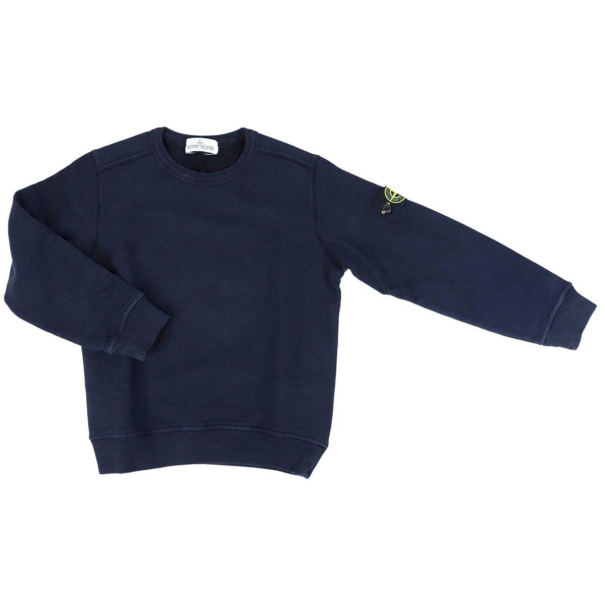 Crewneck cotton sweatshirt Blue STONE ISLAND JUNIOR