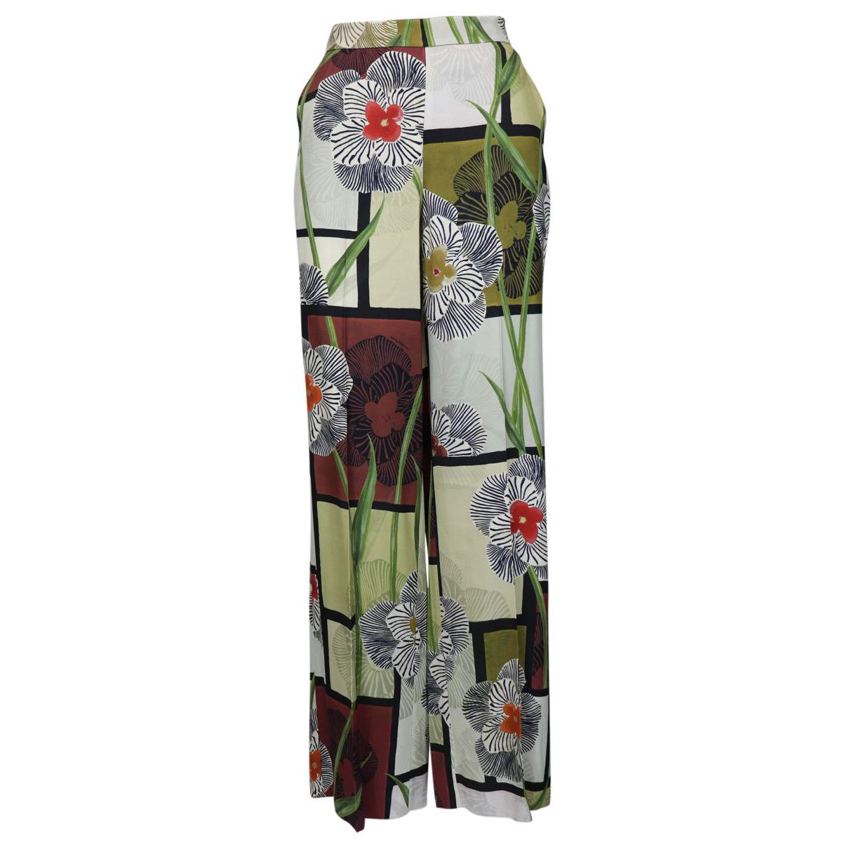 Palazzo viscose trousers with floral print Natural Maliparmi
