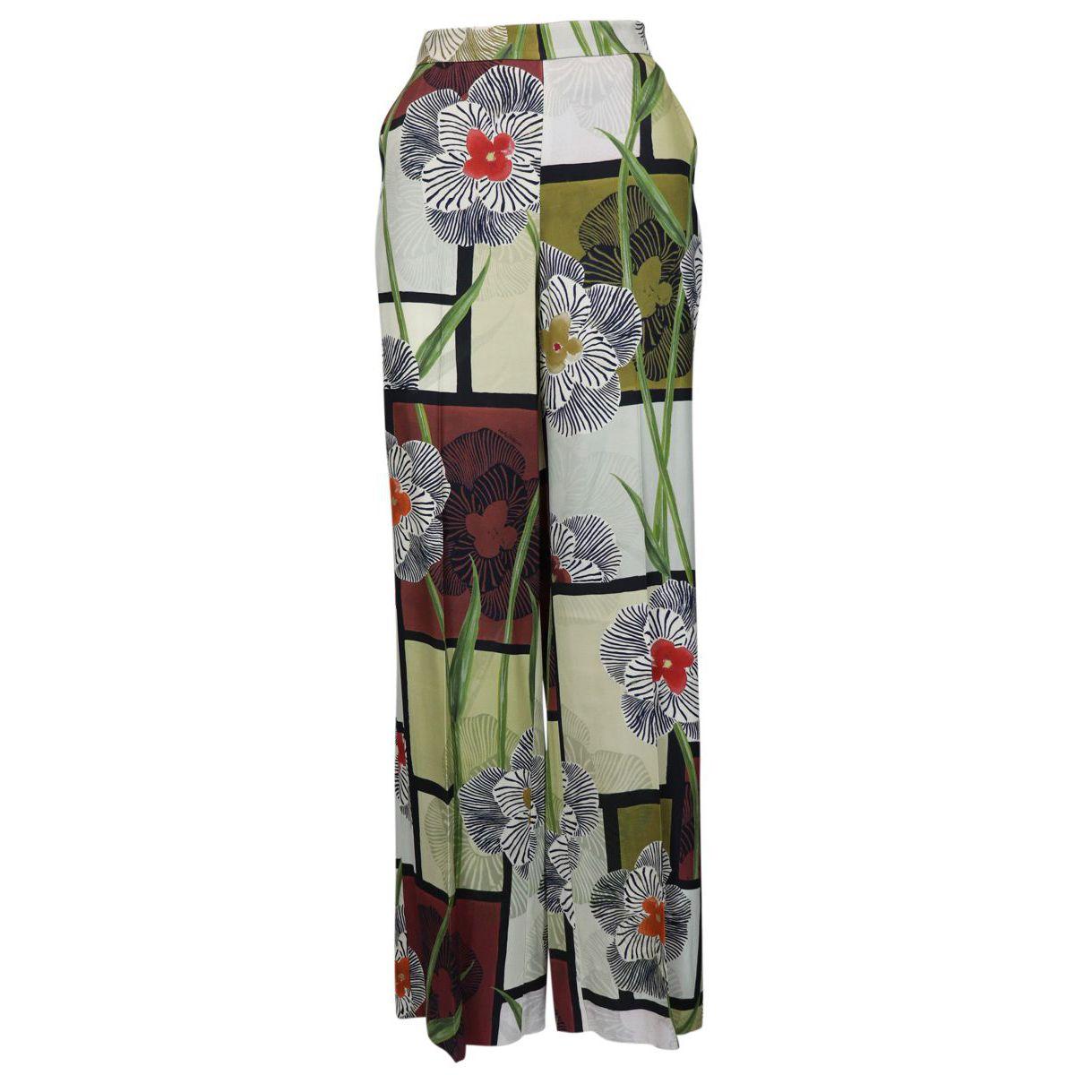 Pantalon Palazzo en viscose à imprimé floral Naturel Maliparmi
