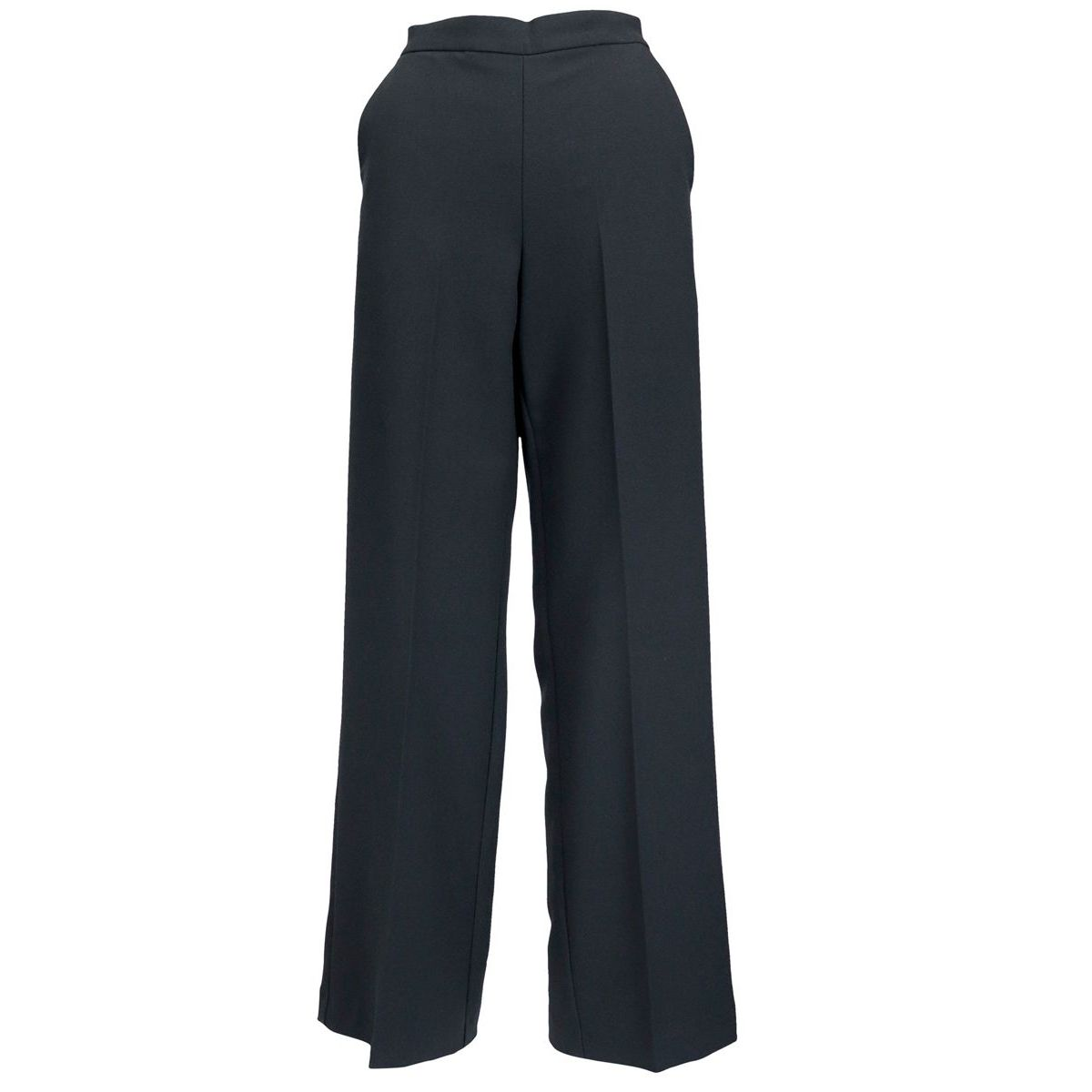 Pantalon large avec pli pressé en tissu sablé Noir Maliparmi