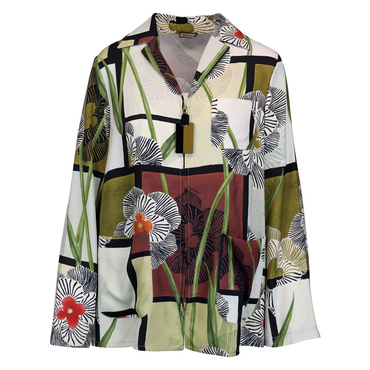 Artsy Flower cardigan jacket in viscose twill with zip Natural Maliparmi