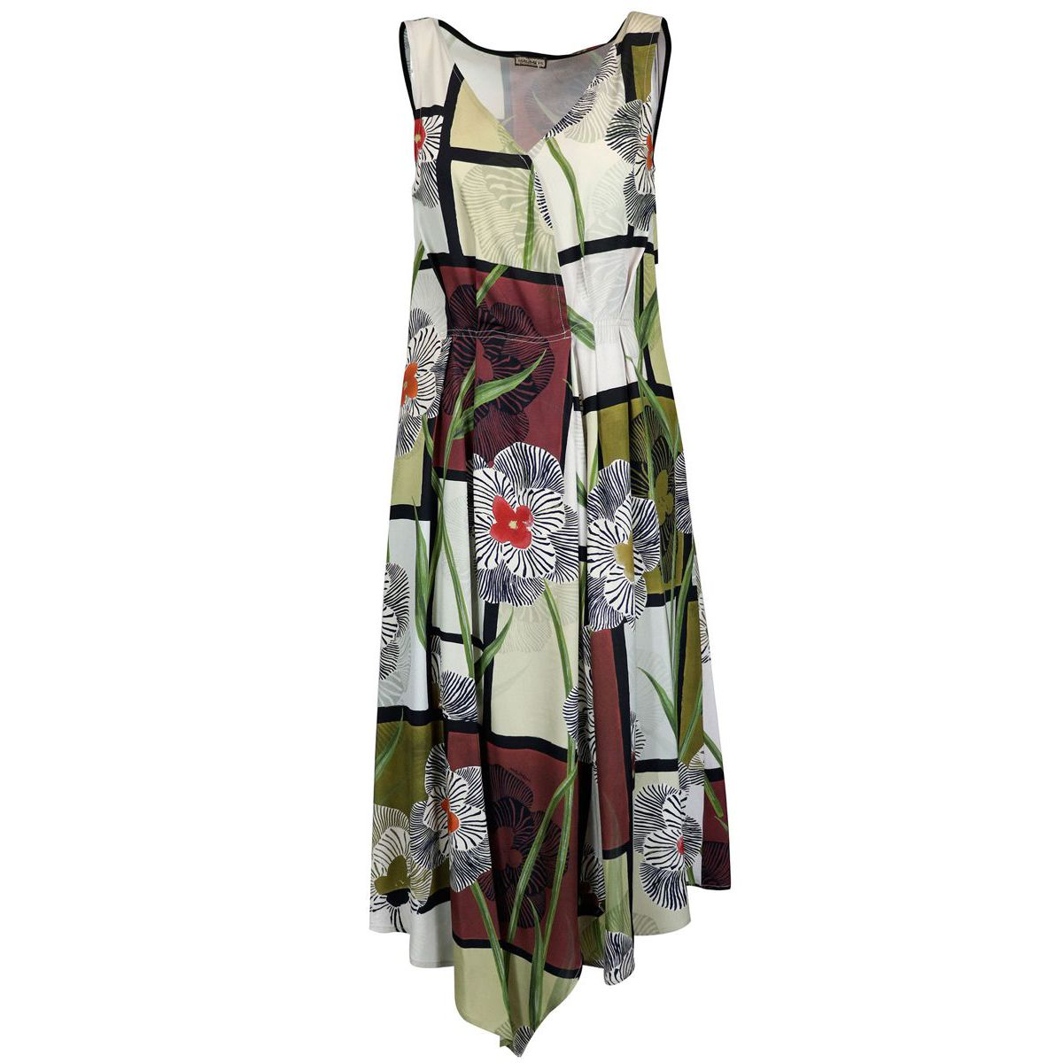 Artsy Flower dress in printed viscose twill with V-neck Natural Maliparmi