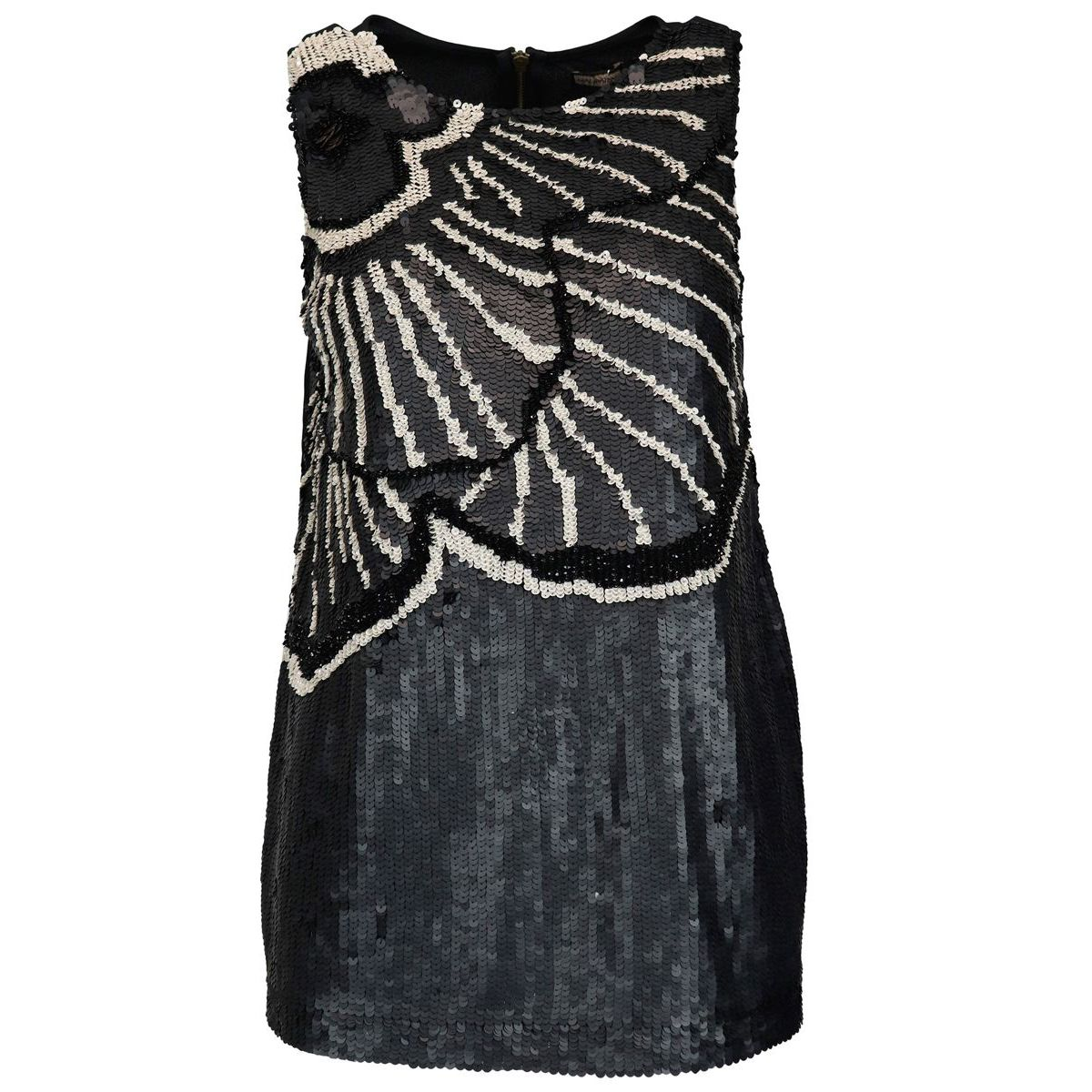 Zebra Flower top in viscose with embroidery in sequins Black / b.co Maliparmi