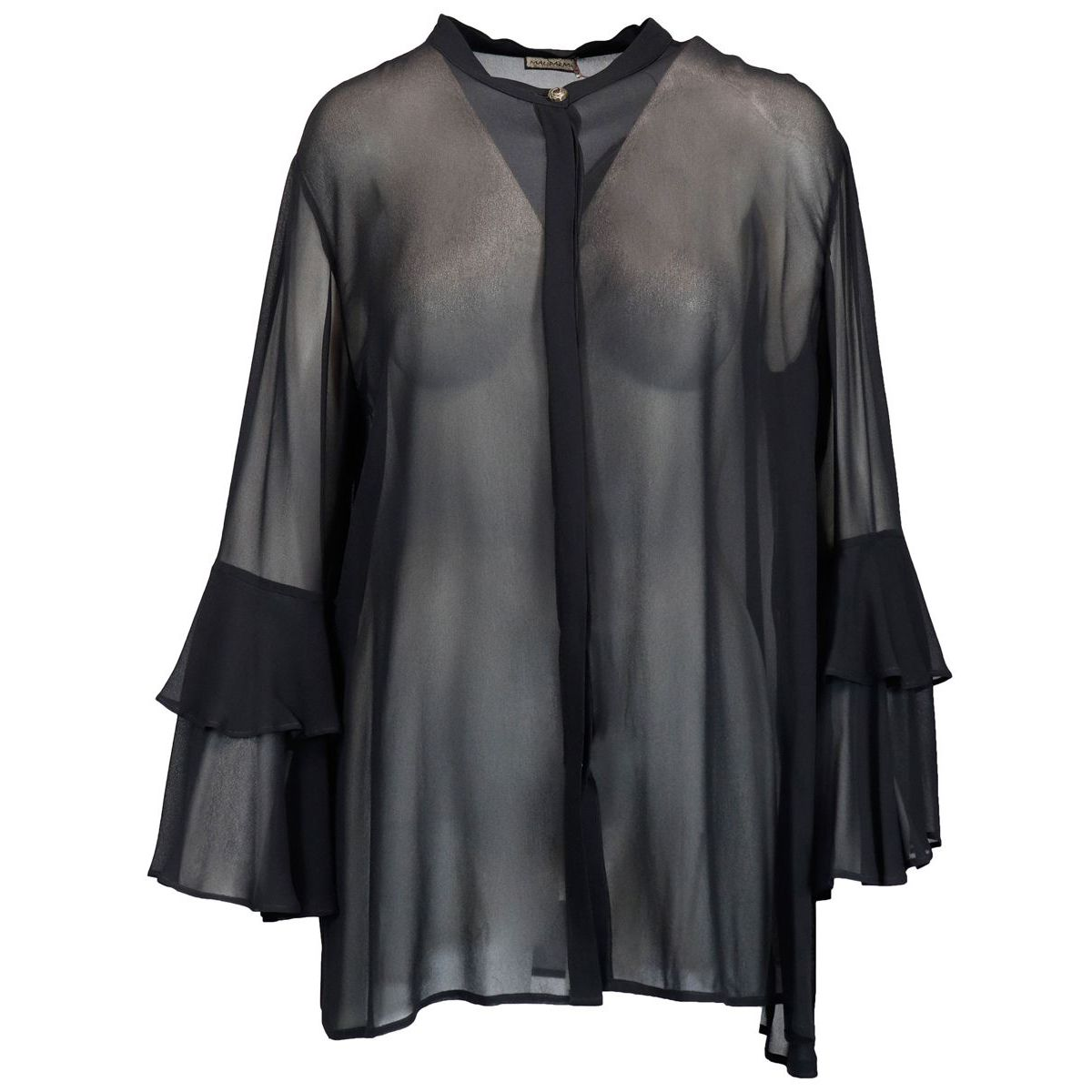 Georgette shirt in transparent fabric with flounces Black Maliparmi