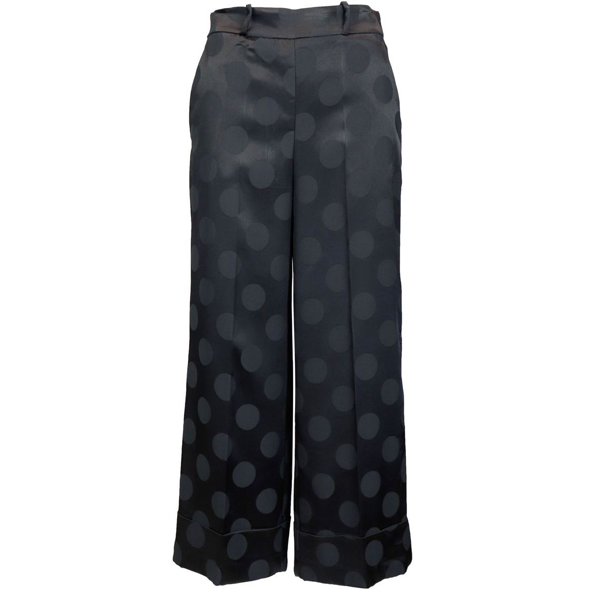 Shiny trousers with tone on tone polka dots Black Maliparmi