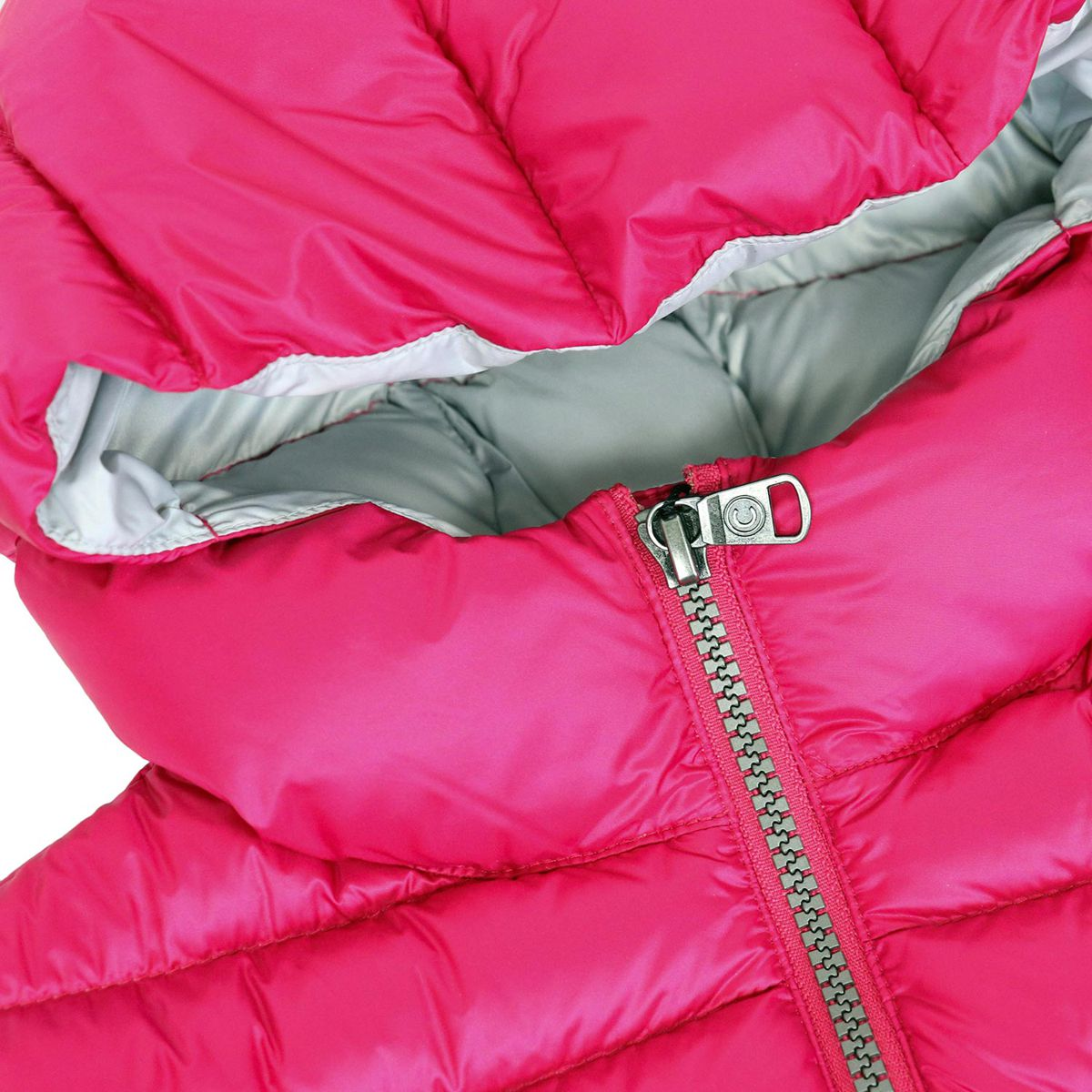 Quilted nylon quilted jacket with hood and zip Fuchsia Colmar