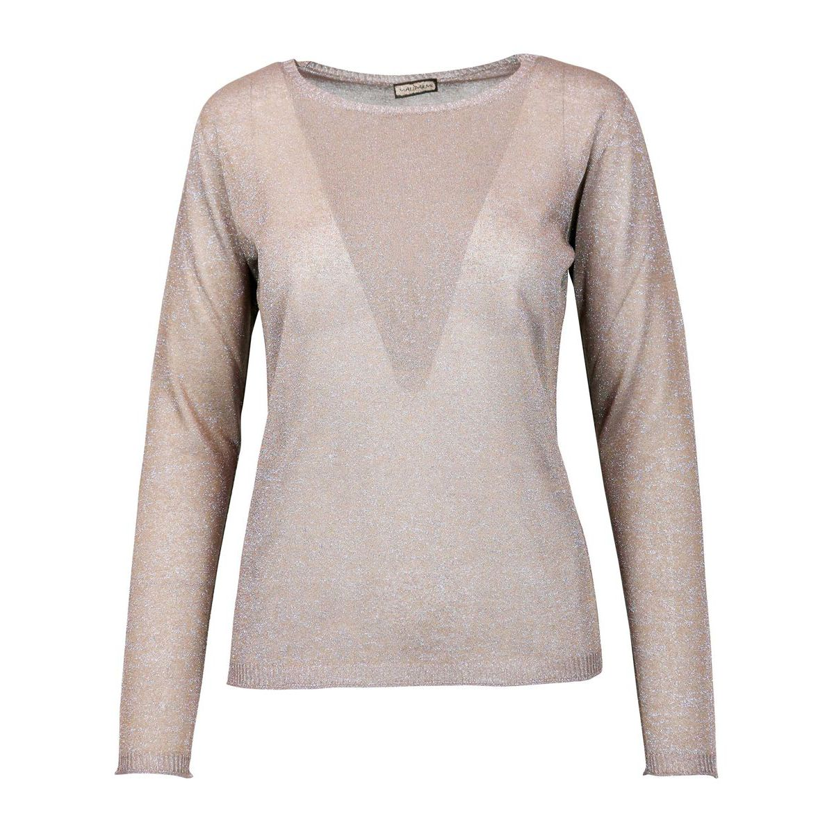 Crew-neck sweater in viscose blend in lurex fabric Jute Maliparmi