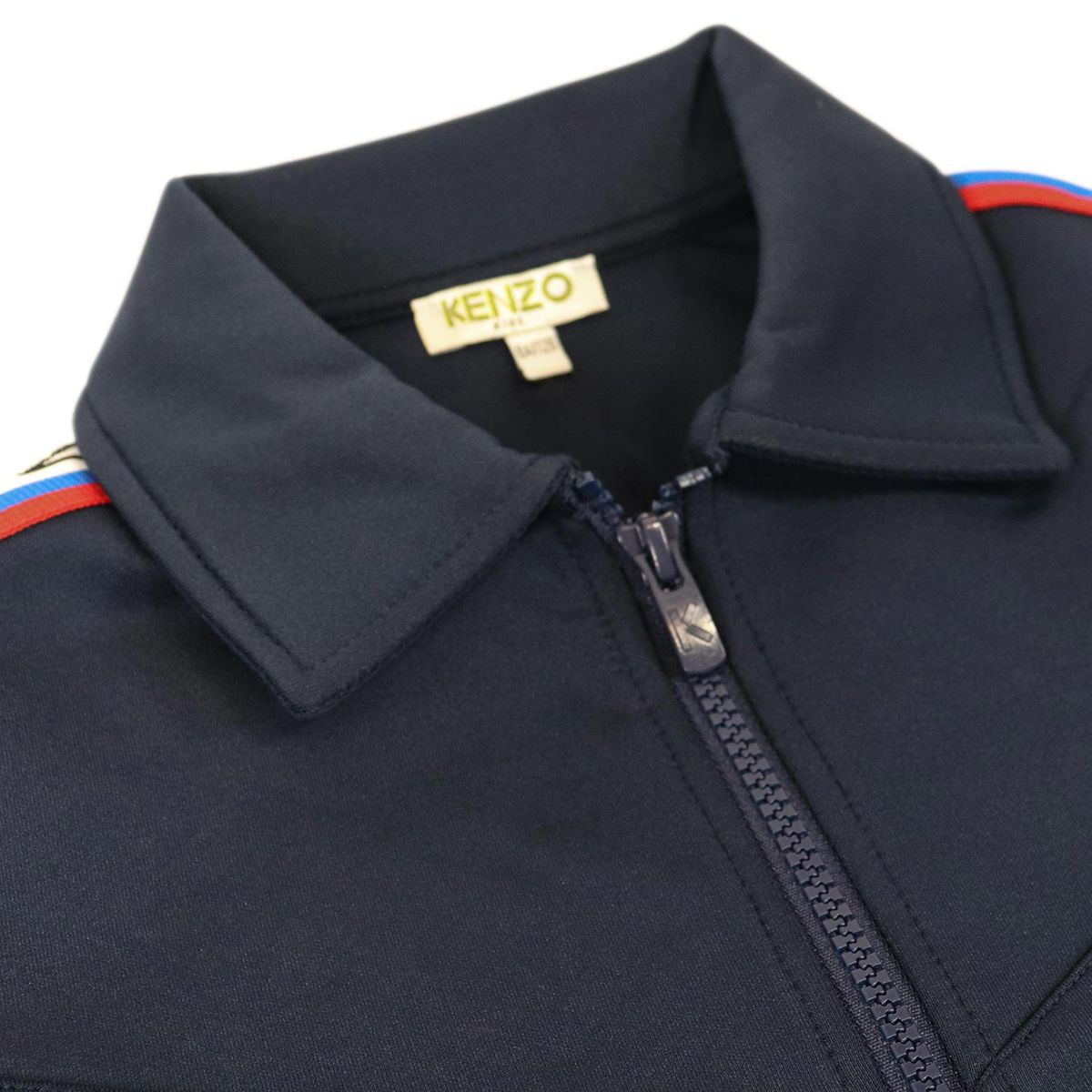 Acetate fabric jacket with zip and logo lettering bands Blue Kenzo