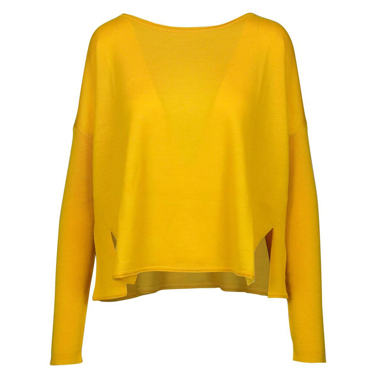 Wool crew neck sweater with side slits Yellow Maliparmi