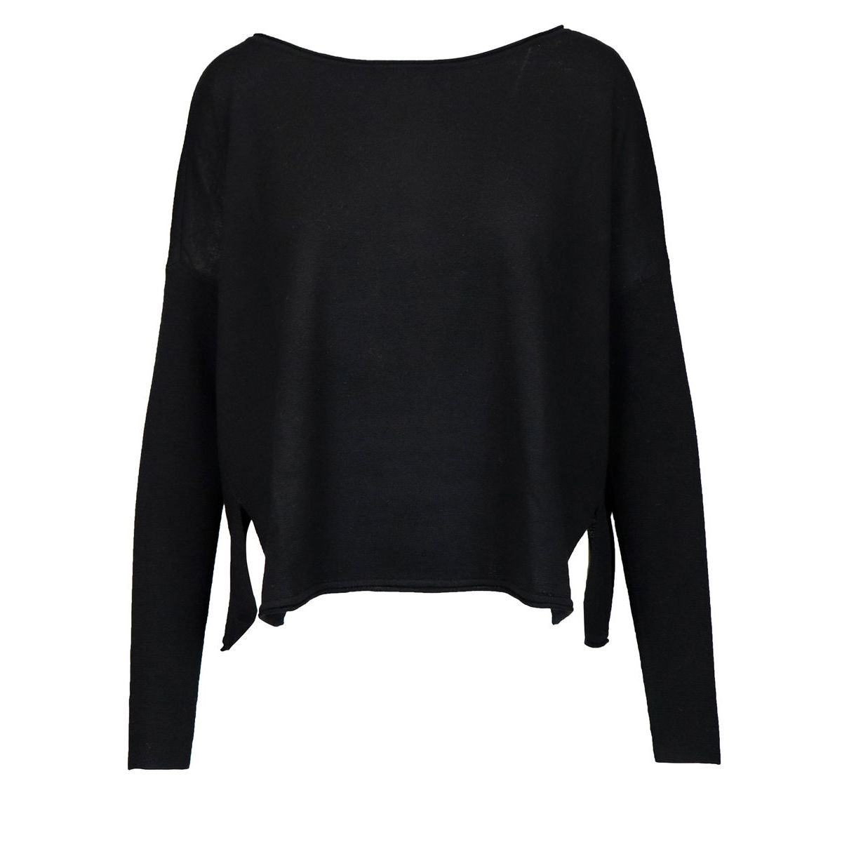 Wool crew neck sweater with side slits Black Maliparmi