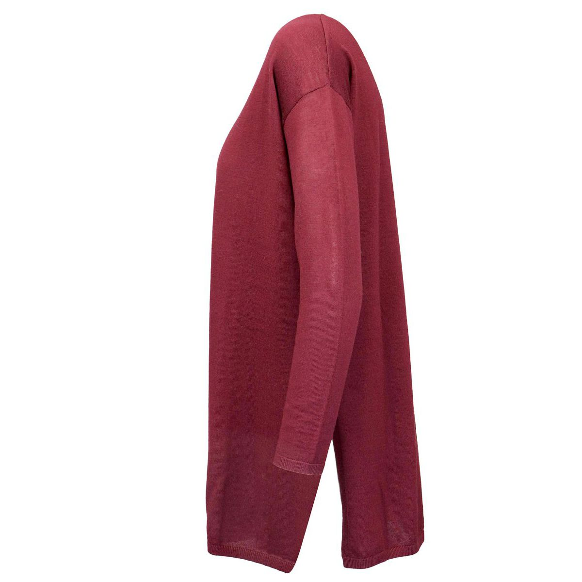 Soft wool sweater with ribbed profiles Bordeaux Maliparmi
