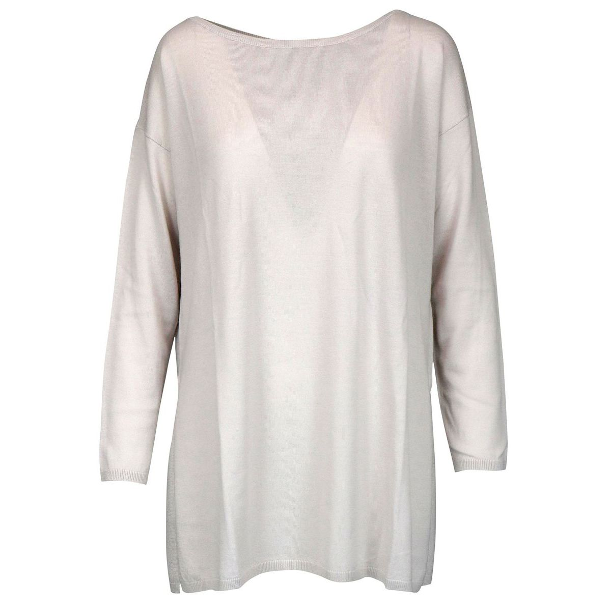 Soft wool sweater with ribbed profiles Sand Maliparmi