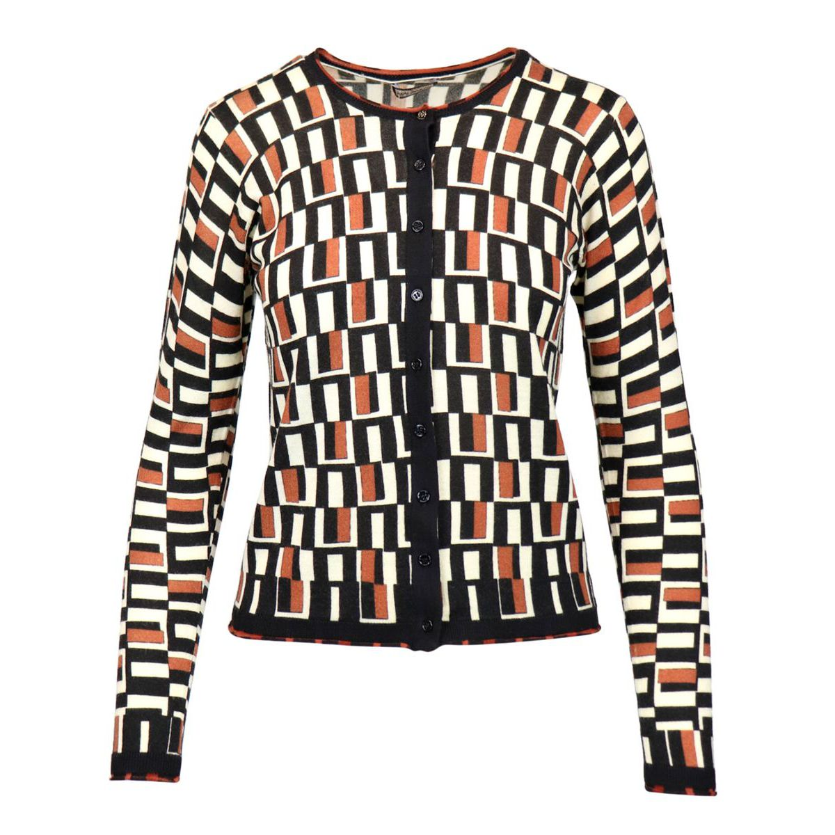 Crewneck wool cardigan with geometric print Natural / black Maliparmi
