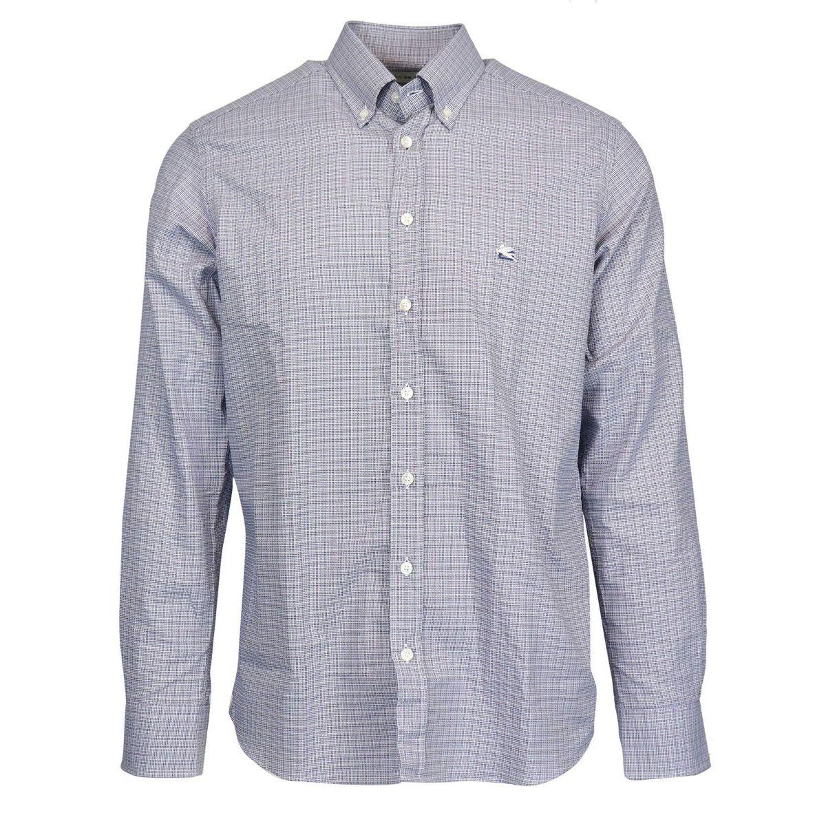 Regular button down cotton shirt with logo Light blue Etro