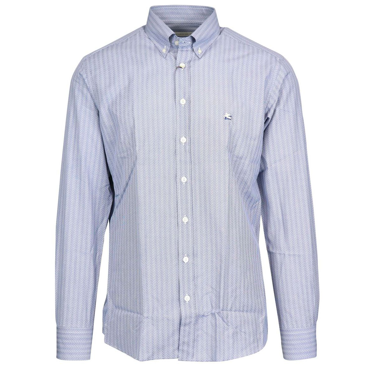 Regular button down cotton shirt with logo Light blue Etro
