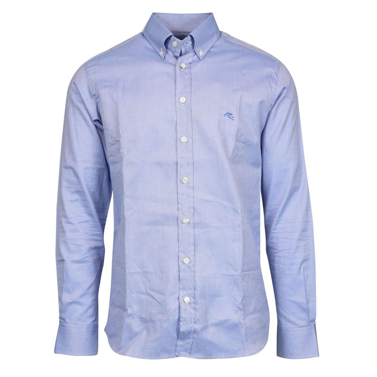 Regular button down shirt in cotton and stripes Light blue Etro
