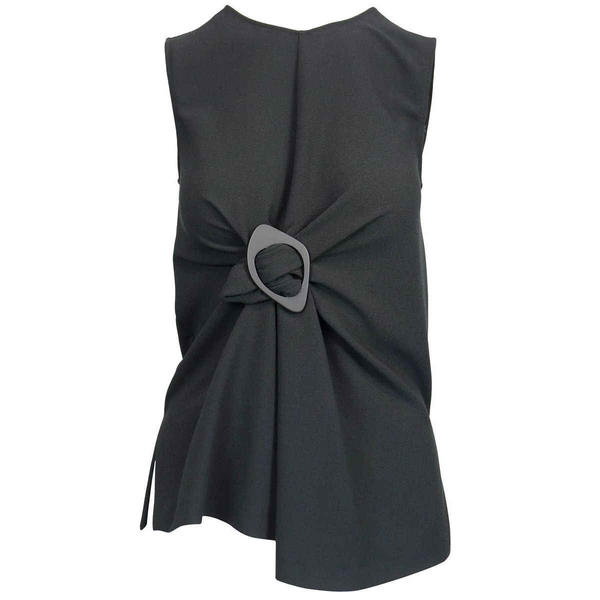 Sleeveless top with central buckle and asymmetrical hem Black Maliparmi