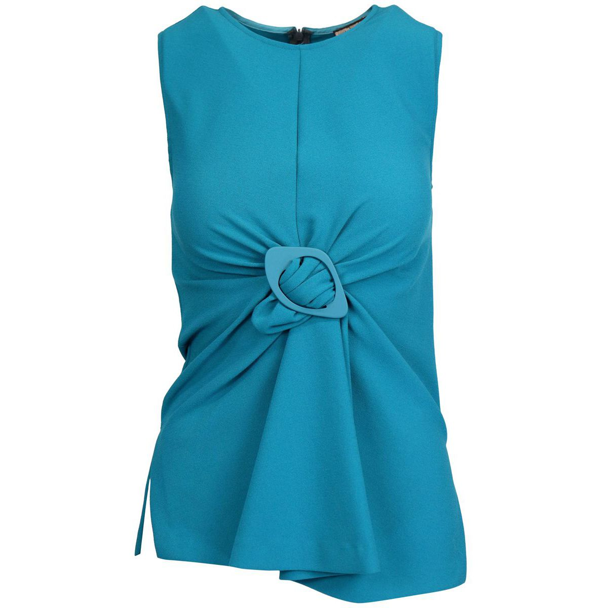 Sleeveless top with central buckle and asymmetrical hem Teal Maliparmi