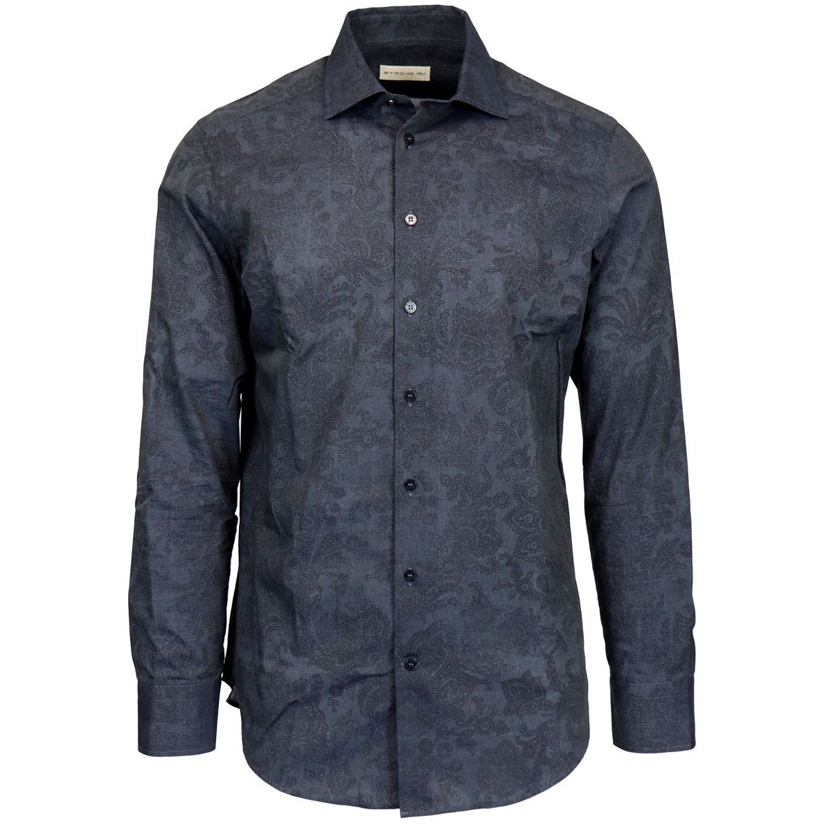 Slim patterned spread cotton shirt Blue Etro