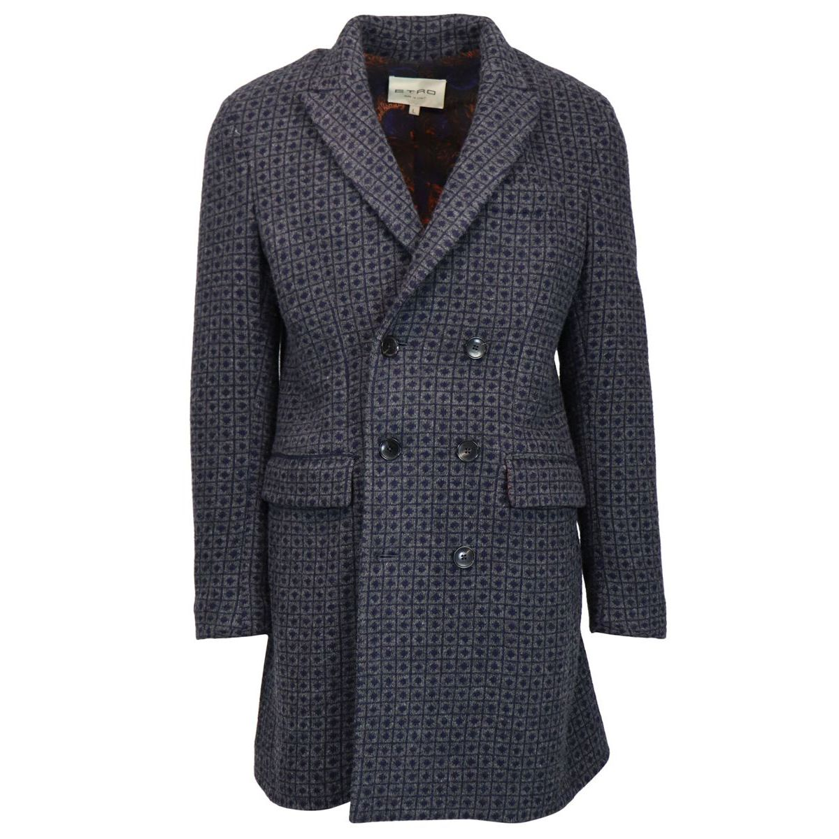 Double-breasted coat with checked pattern Grey Etro