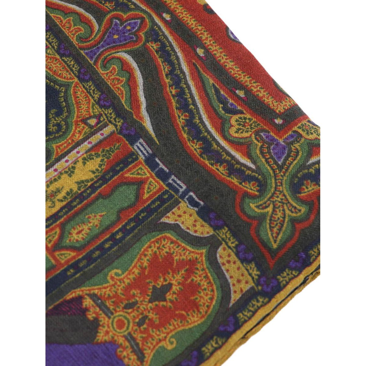 Mixed modal and wool scarf with multicolor print Orange Etro