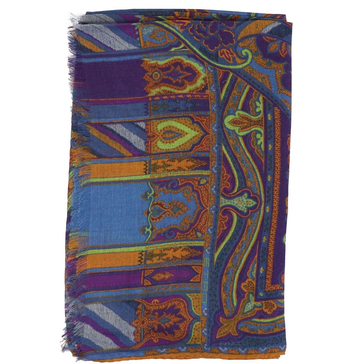 Mixed modal and wool scarf with multicolor print Blue Etro