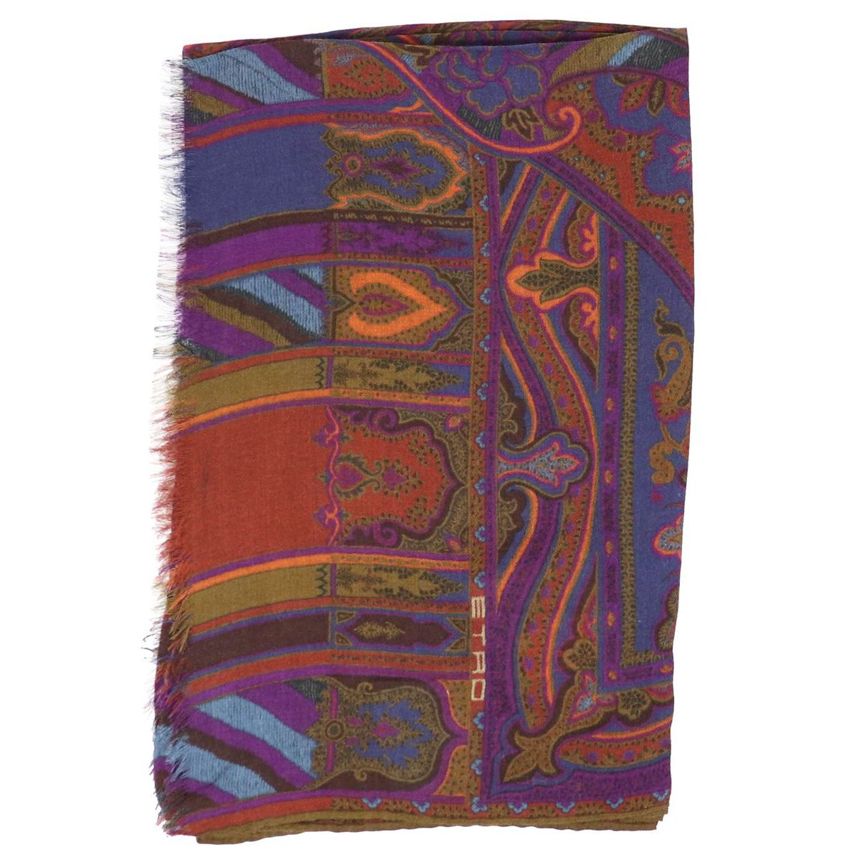 Mixed modal and wool scarf with multicolor print Fuchsia Etro